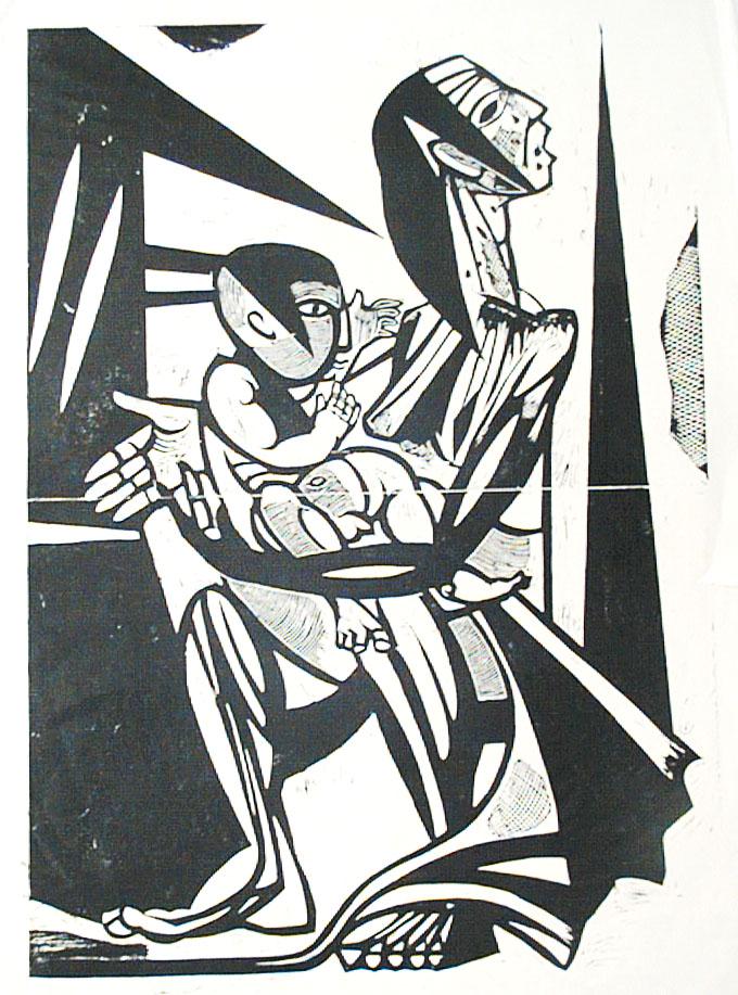 """CityCard_Nr. 1: """"Mutter und Kind"""", Holzschnitt, 1953."""