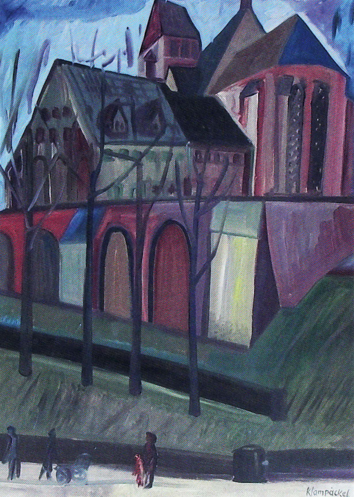 """CityCard_Nr. 6: Die Schloßkirche"""" (Ausschnitt), Öl auf Leinwand, um 1960 - das Bild gehört seit Dezember 2008 zur Sammlung des Schloßbergmuseums Chemnitz."""