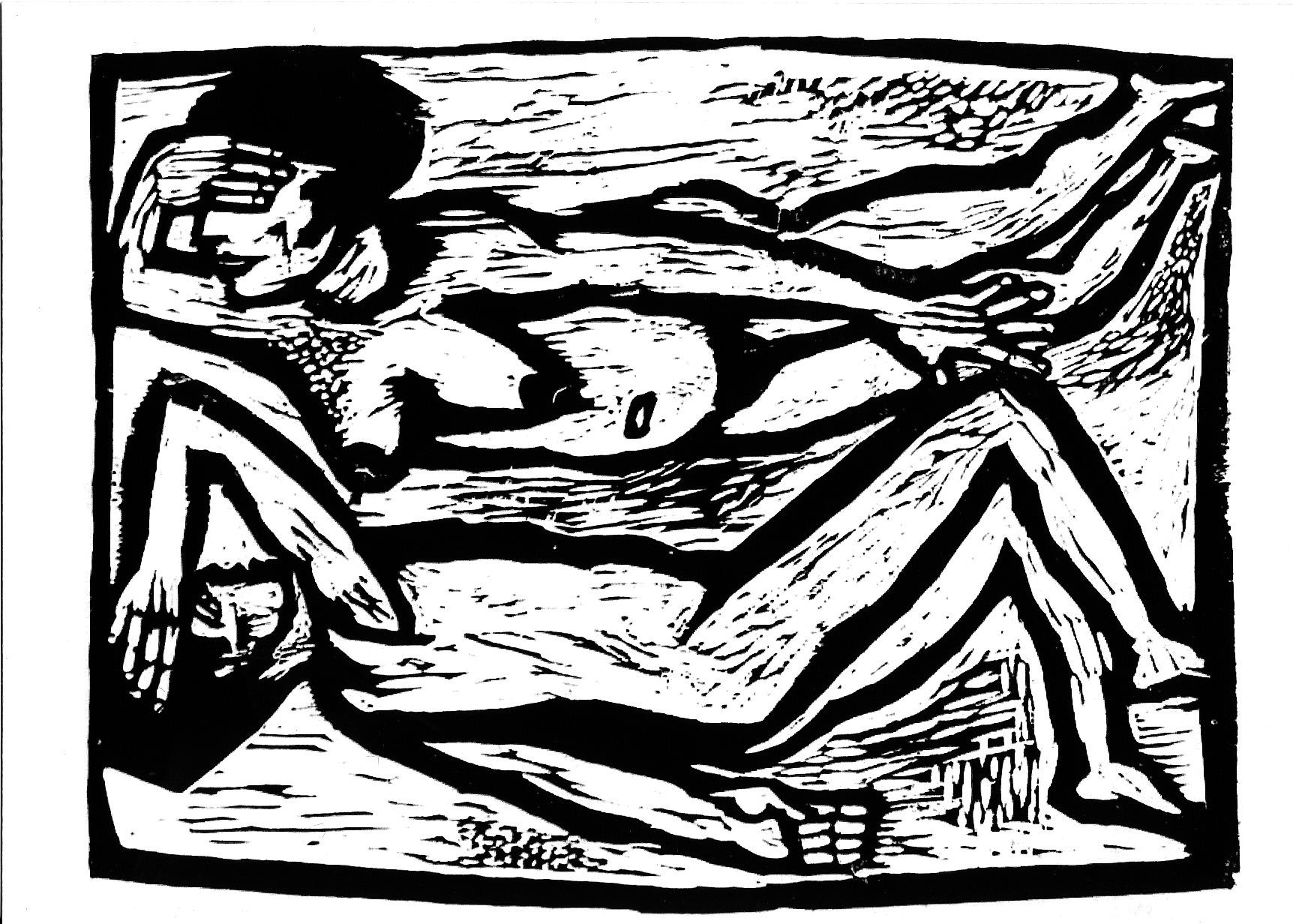 """CityCard_Nr. 4: """"Liebespaar"""", Holzschnitt, 1956."""