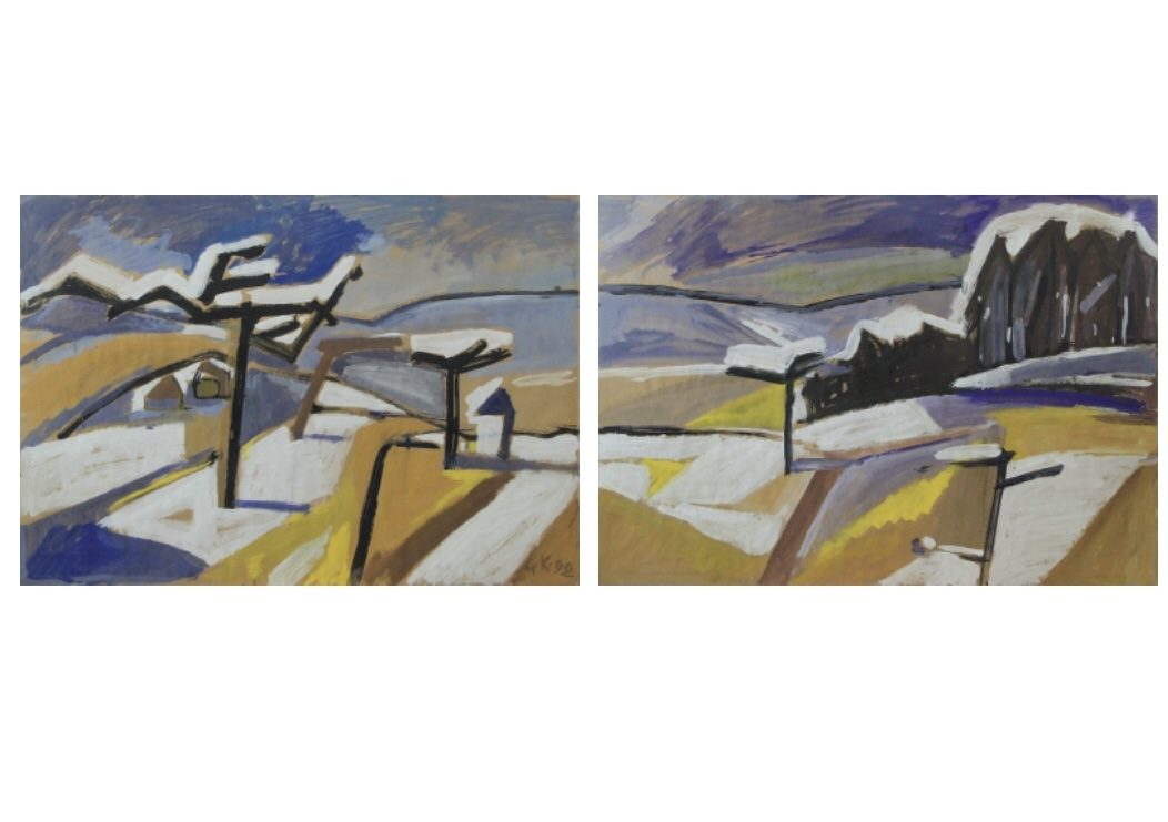 """Citycard Nr. 21: """"Landschaft im Erzgebirge"""" (I und II), Gouache."""