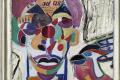 "CityCard_Nr. 5: ""per aspera ad astra"" (Ausschnitt), Öl/Collage, gold übermalt 1989."