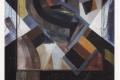 """CityCard_Nr. 9: """"Der Läufer"""" (abstrakt), Öl auf Leinwand, 1985."""