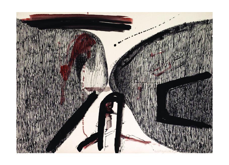 """CityCard Nr. 16:""""die kraft liegt im ertragen"""", Zweifarbige Mischtechnik, 1984/87."""