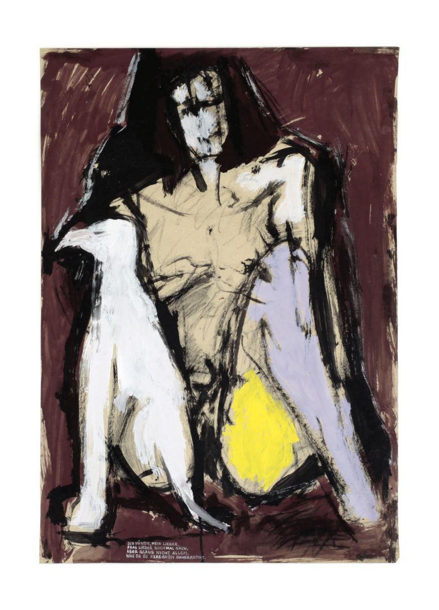 """CityCard_Nr.19: """"Frau mit Vogel"""", Gouache, 1996."""