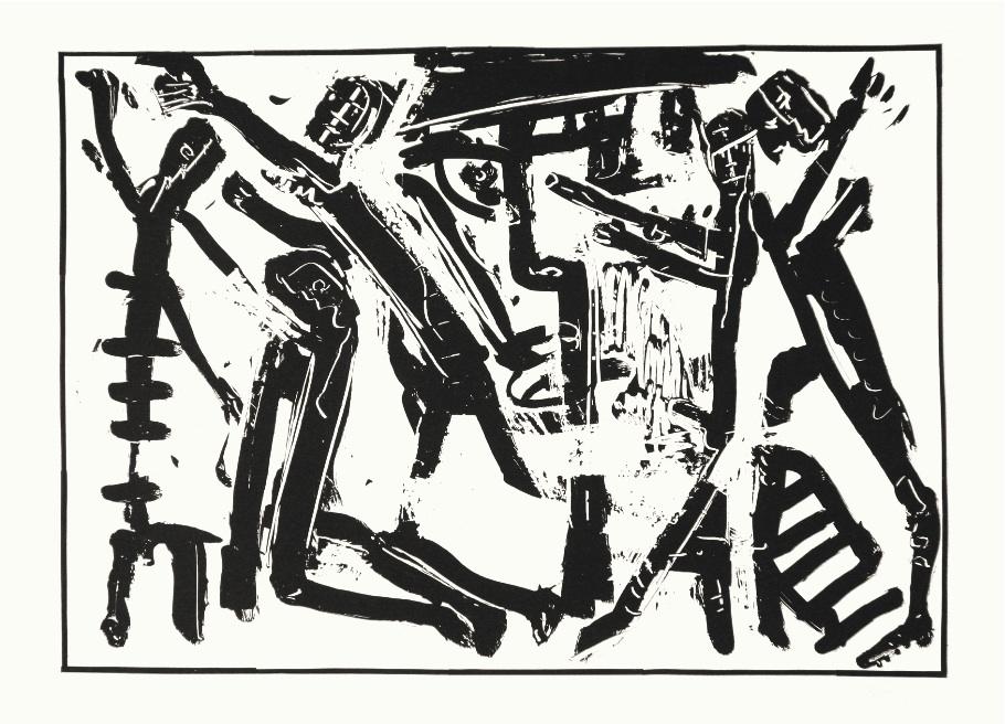"""CityCard_Nr. 10: """"Selbst. Zu Heinrich Böll, Wo warst du, Adam?"""", Lithographie, 1985."""