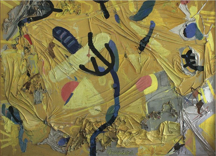 """CityCard_Nr. 11: """"Tanzender Baum"""", Mischtechnik/Collage auf Leinwand, 1997."""