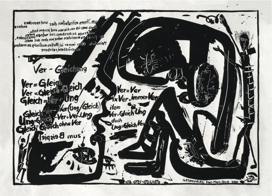 "CityCard_Nr. 7: ""Ver-Gleichung"", Lithographie, 1987."