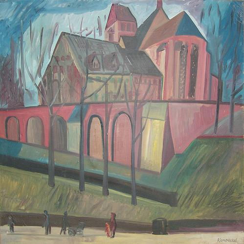 """""""Die Schloßkirche"""", Öl auf Leinwand, um 1960. Das Bild gehört als Schenkung zur Sammlung des Schloßbergmuseums/ Kunstsammlungen Chemnitz."""