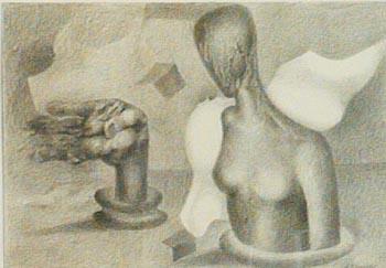 """""""Kopf und Hand"""", Bleistiftzeichnung. Die Arbeit erschien 2014 auf  der Citycard."""